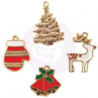 Christmas In The Country Enamel Charms 4/Pkg