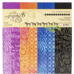 """Graphic 45 Double-Sided Paper Pad 12""""X12"""" 16/Pkg Kaleidoscope, 8 Designs/2 Each"""