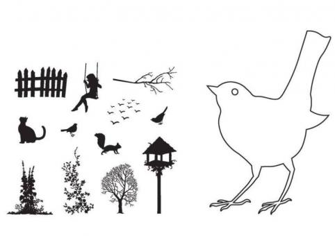 Claritystamp Bird Outline Clear Stamps with Mask
