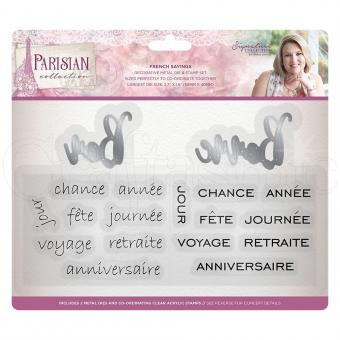 Crafter's Companion -Parisian Stamp & Die Set - French Sayings