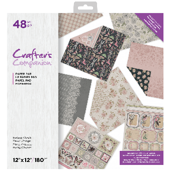 Crafter's Companion 12 x 12 Printed Paper Pad - Vintage Florals