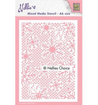 Nellies Choice Plastic Mixed media stencil - Small Snowflakes
