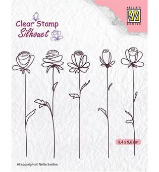 Nellie`s Choice Clearstamp - 5-flowers