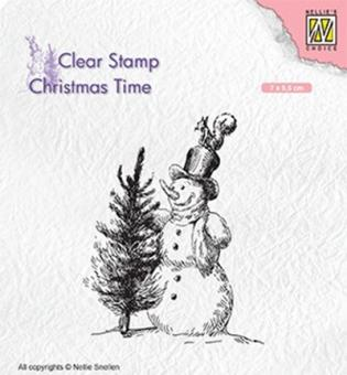 Nellie`s Choice Clearstamp - Snowman with tree