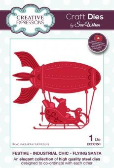 Creative Expressions - Festive Industrial Chic Collection Flying Santa