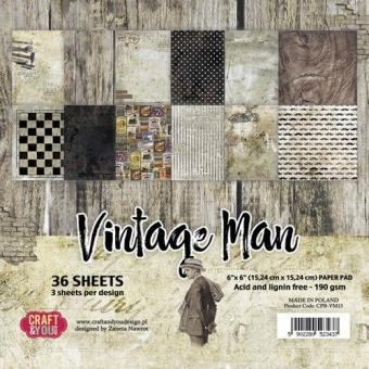 Craft&You Vintage Man Small Paper Pad 6x6