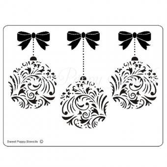 Sweet Poppy Stencil: Damask Baubles & Bows