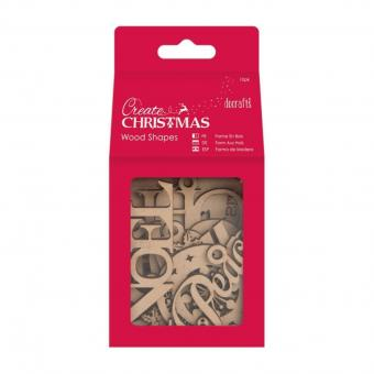 Docrafts Create Christmas Wood Shapes Words