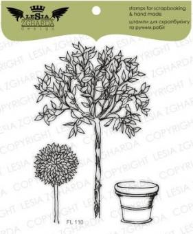 "Stamp Set ""Trees with a flowerpot"""