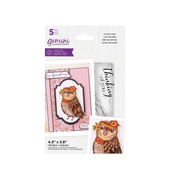 Gemini Clearstamp und Stanzschablone Set - Illustrated Amimals - You're a Hoot