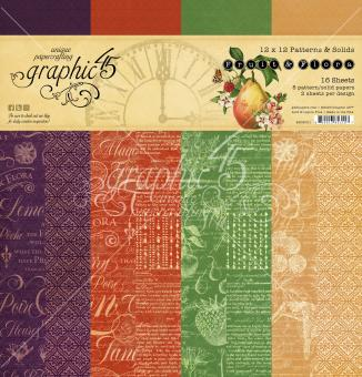 Graphic 45 Fruit & Flora 12x12 Inch Patterns & Solids Paper Pad