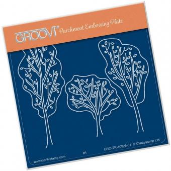 Claritystamp Groovi Trees A5 Square Plate