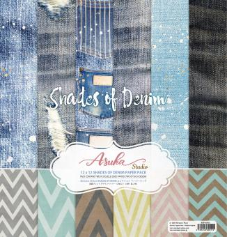Memory Place Shades of Denim 12x12 Inch Paper Pack