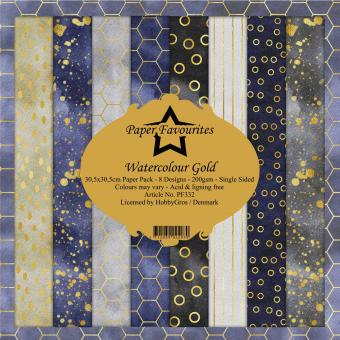 Paper Favourites Watercolour Gold 12x12 Inch Paper Pack