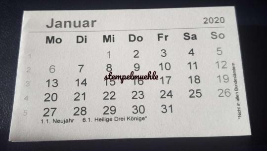 Mini-Kalender 2020 Deutsch 7,5cm x 4,5 cm