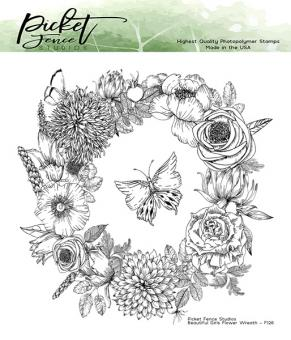 Picket Fence Studios Beautiful Girls Flower Wreath 6x6 Inch Clear Stamps