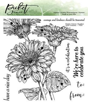 Picket Fence Studios Wild Daisies 6x6 Inch Clear Stamps