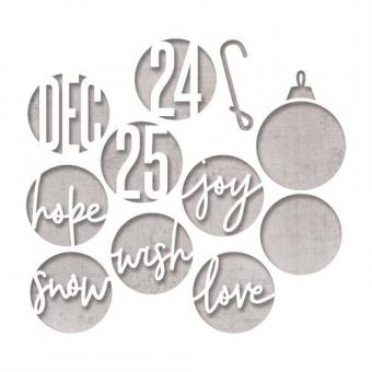 Sizzix Thinlits Die Set - 12PK Circle Words, Christmas Tim Holtz