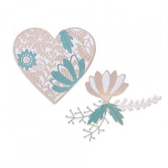 Sizzix Thinlits Die Set - 9PK Bold Floral Heart