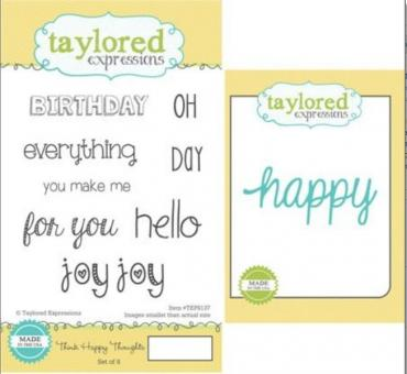 Taylored Expressions Think Happy Thoughts Stamp & Die Combo